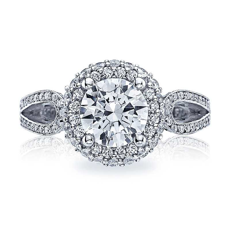 Tacori HT2518RD7-W White Gold Loop Shank Engagement Blooming Beauties Ring Top View