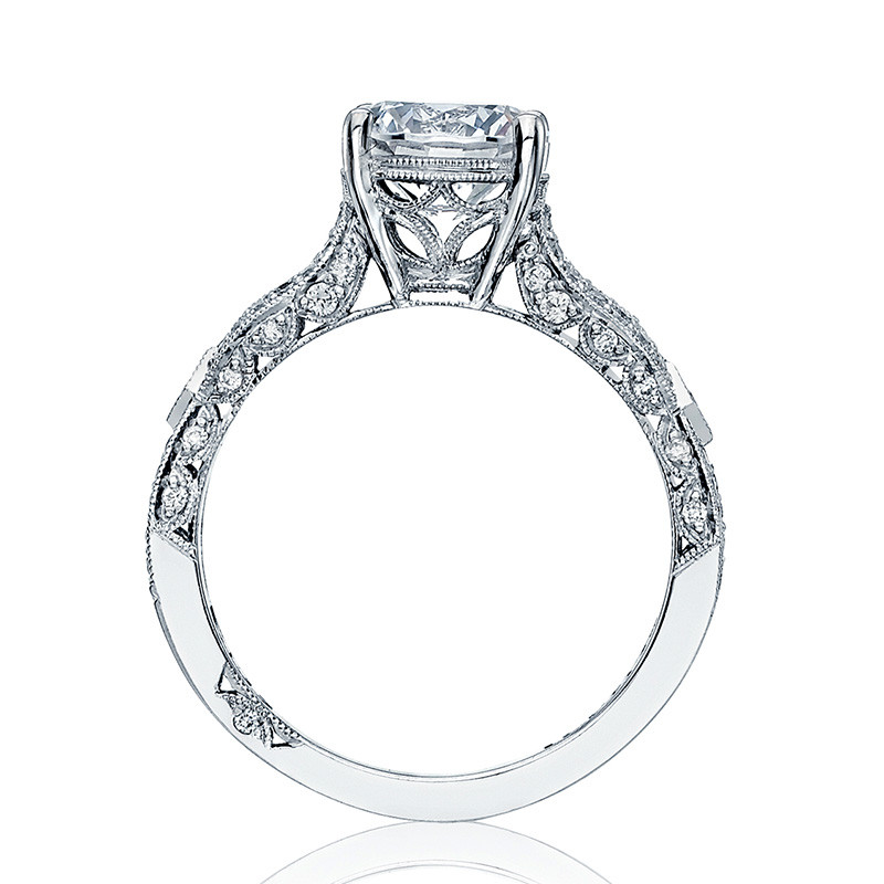 Tacori HT2528RD8-W Diamond Half Way White Gold Engagement Ribbon Setting Edge View