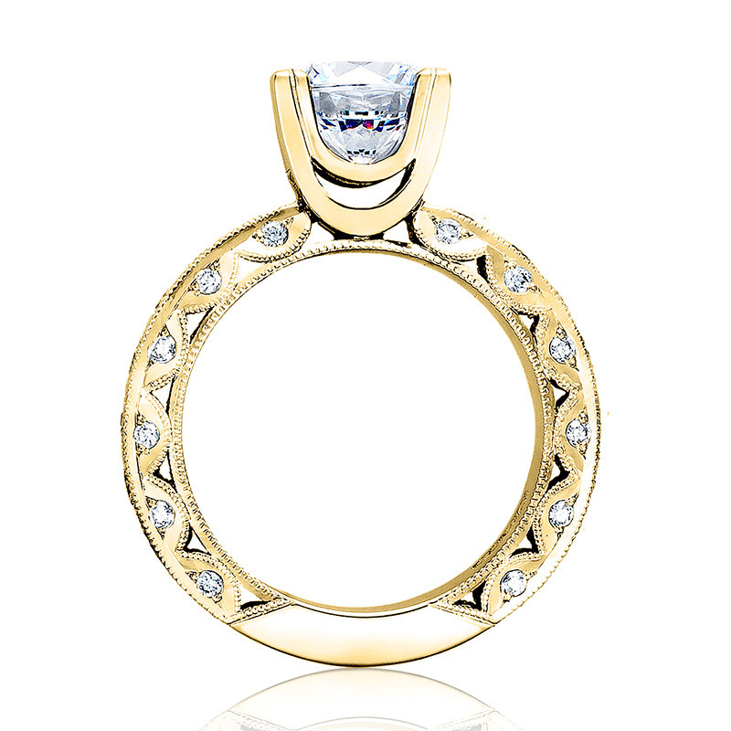 Tacori HT2530A-Y Yellow Gold Diamond Eternity Engagement Classic Crescent Setting Edge View
