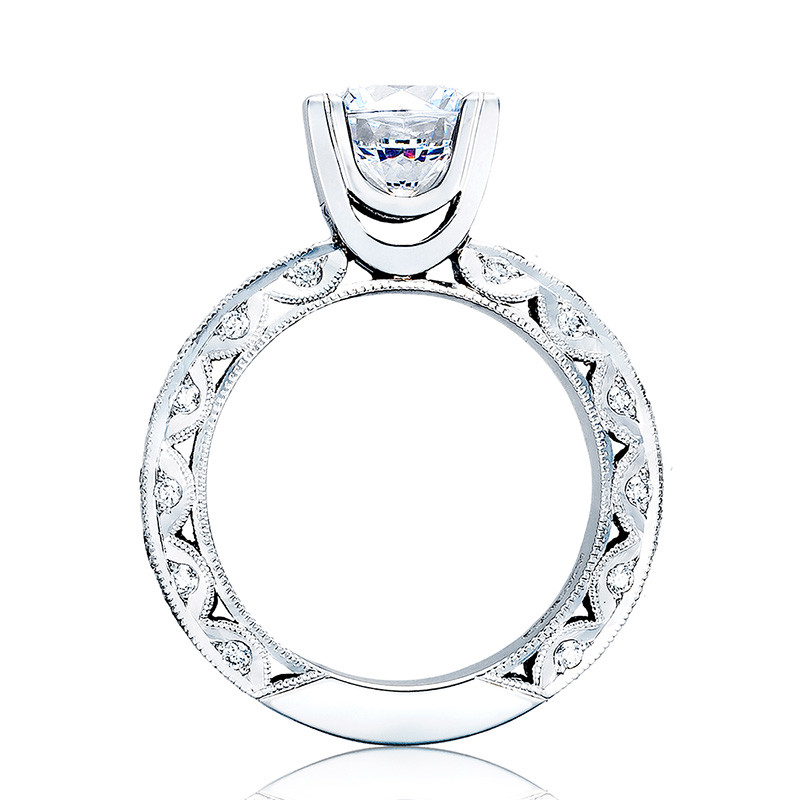 Tacori HT2530A Platinum Diamond Eternity Engagement Classic Crescent Setting Edge View