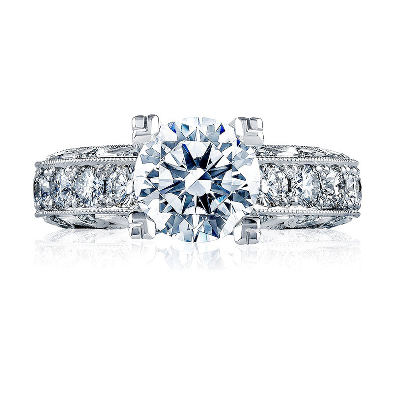 Tacori HT2530A Platinum Diamond Eternity Engagement Classic Crescent Setting Top View