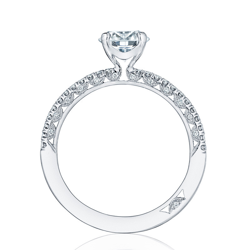 Tacori HT2545RD5 White Gold Engagement Petite Crescent Setting Edge View