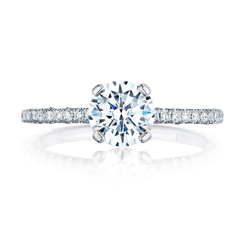 Tacori HT2545RD55 White Gold Engagement Petite Crescent Setting Top View