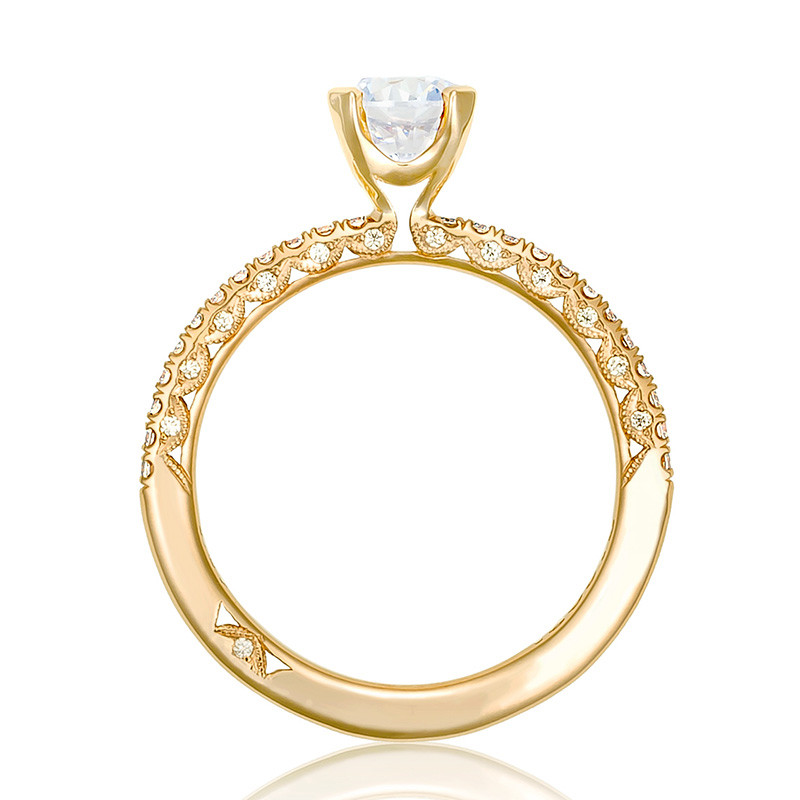 Tacori HT2545RD55 Yellow Gold Engagement Petite Crescent Setting Edge View