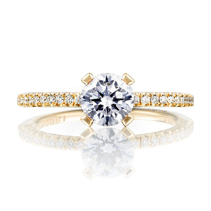 Tacori HT2545RD45 Yellow Gold Engagement Petite Crescent Setting Top View