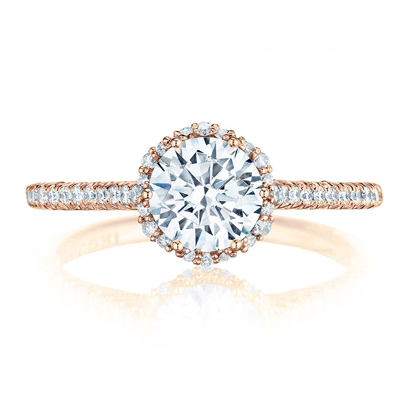 Tacori HT254715RD65 Rose Gold Bloom Engagement Petite Crescent Setting Top View