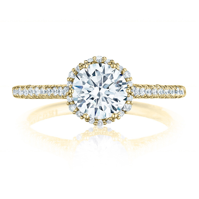 Tacori HT254715RD65 Yellow Gold Bloom Engagement Petite Crescent Setting Top View