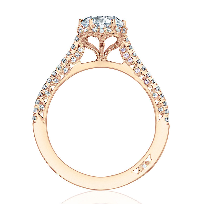 Tacori HT254715RD7 Rose Gold Bloom Engagement Petite Crescent Setting Edge View