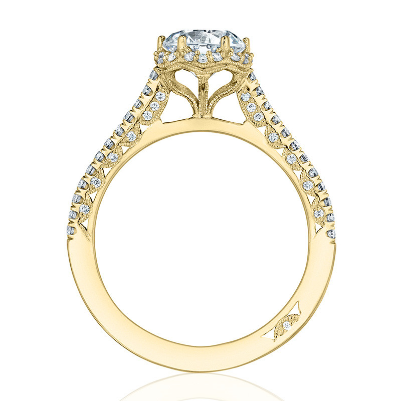 Tacori HT254715RD6 Yellow Gold Bloom Engagement Petite Crescent Setting Edge View