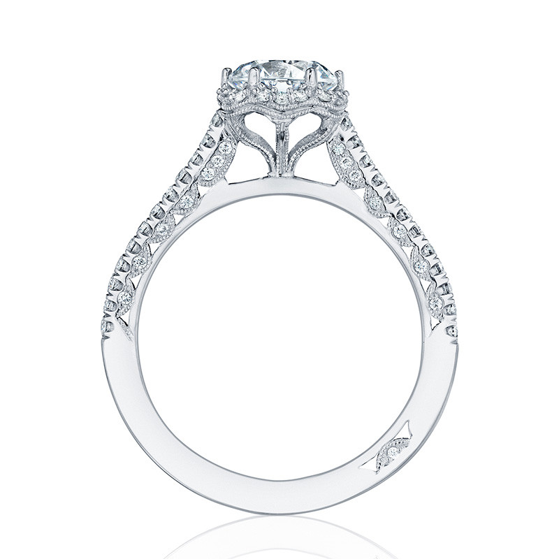 Tacori HT254715RD65 White Gold Bloom Engagement Petite Crescent Setting Edge View