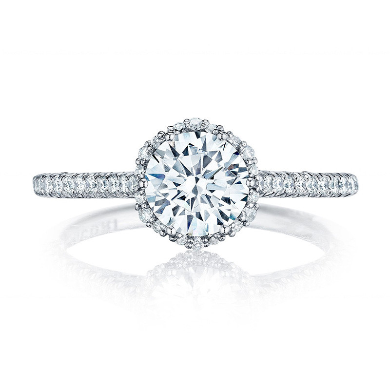 Tacori HT254715RD5 White Gold Bloom Engagement Petite Crescent Setting Top View