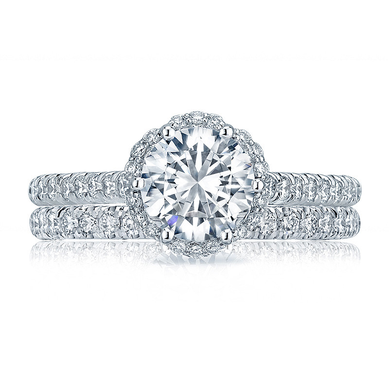 Tacori HT2547RD65 Bloom White Gold Engagement Petite Crescent Setting with Band