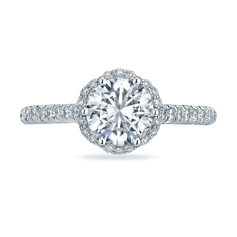 Tacori HT2547RD6 Bloom White Gold Engagement Petite Crescent Setting Top View