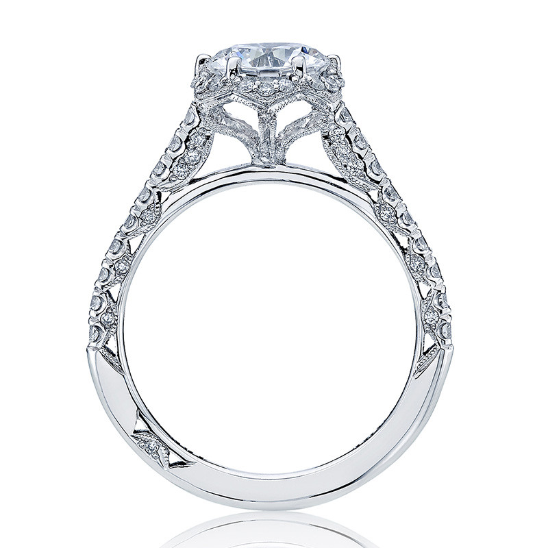 Tacori HT2547RD65 Bloom White Gold Engagement Petite Crescent Setting Edge View