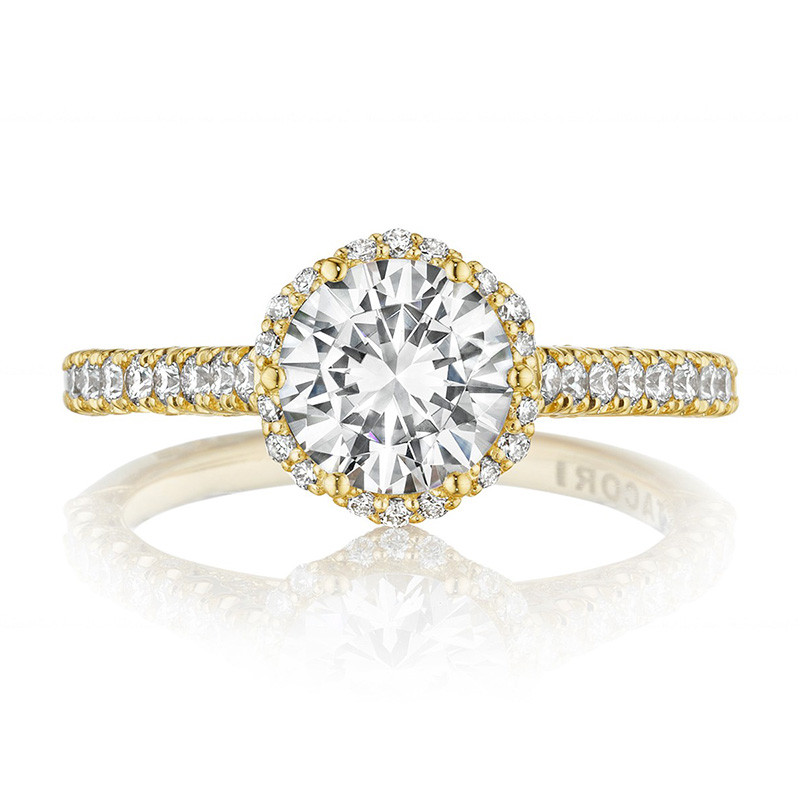 Tacori HT2547RD65 Bloom Yellow Gold Engagement Petite Crescent Setting Top View