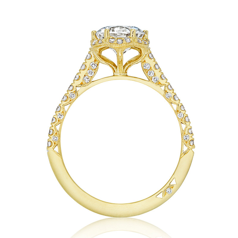 Tacori HT2547RD7 Bloom Yellow Gold Engagement Petite Crescent Setting Edge View