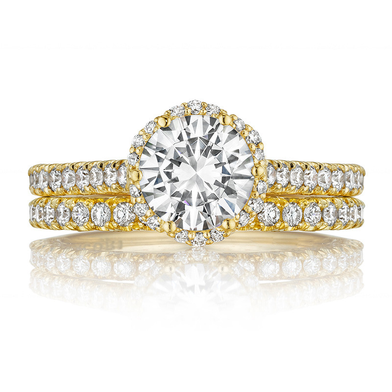 Tacori HT2547RD7 Bloom Yellow Gold Engagement Petite Crescent Setting with Band