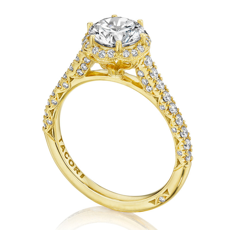 Tacori HT2547RD6 Bloom Yellow Gold Engagement Petite Crescent Setting Angle View
