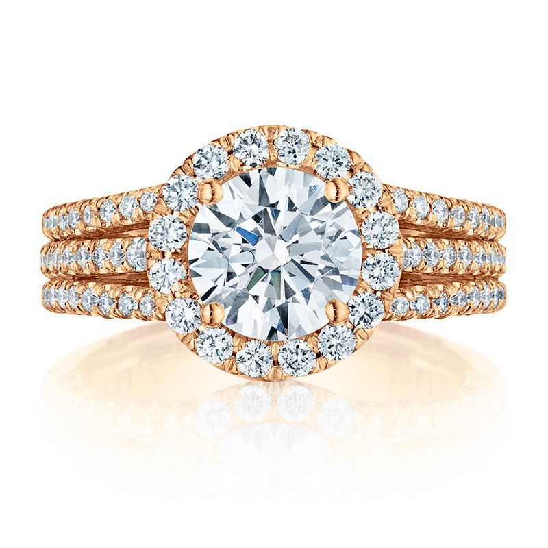Tacori HT2551RD75 Triple Row Rose Gold Engagement Petite Crescent Setting Top View