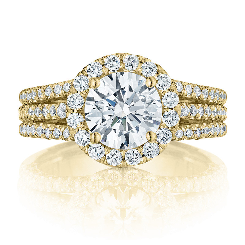 Tacori HT2551RD75 Triple Row Yellow Gold Engagement Petite Crescent Setting Top View