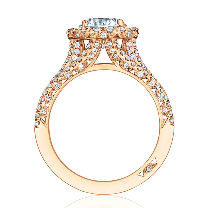 Tacori HT2551RD65 Triple Row Rose Gold Engagement Petite Crescent Setting Edge View