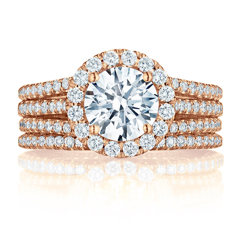 Tacori HT2551RD75 Triple Row Rose Gold Engagement Petite Crescent Setting with Band