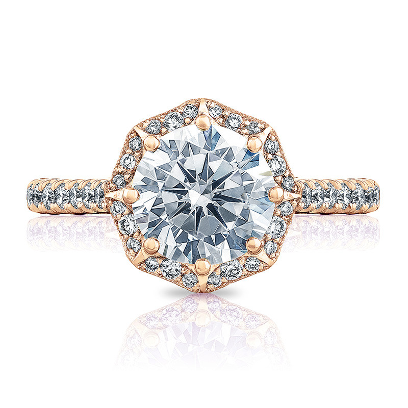 Tacori HT2555RD8 Bloom Rose Gold Engagement Petite Crescent Setting Top View