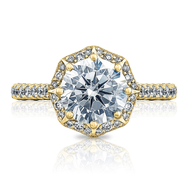 Tacori HT2555RD8 Bloom Yellow Gold Engagement Petite Crescent Setting Top View