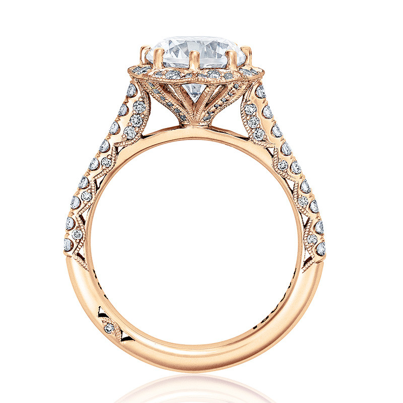 Tacori HT2555RD6 Bloom Rose Gold Engagement Petite Crescent Setting Edge View