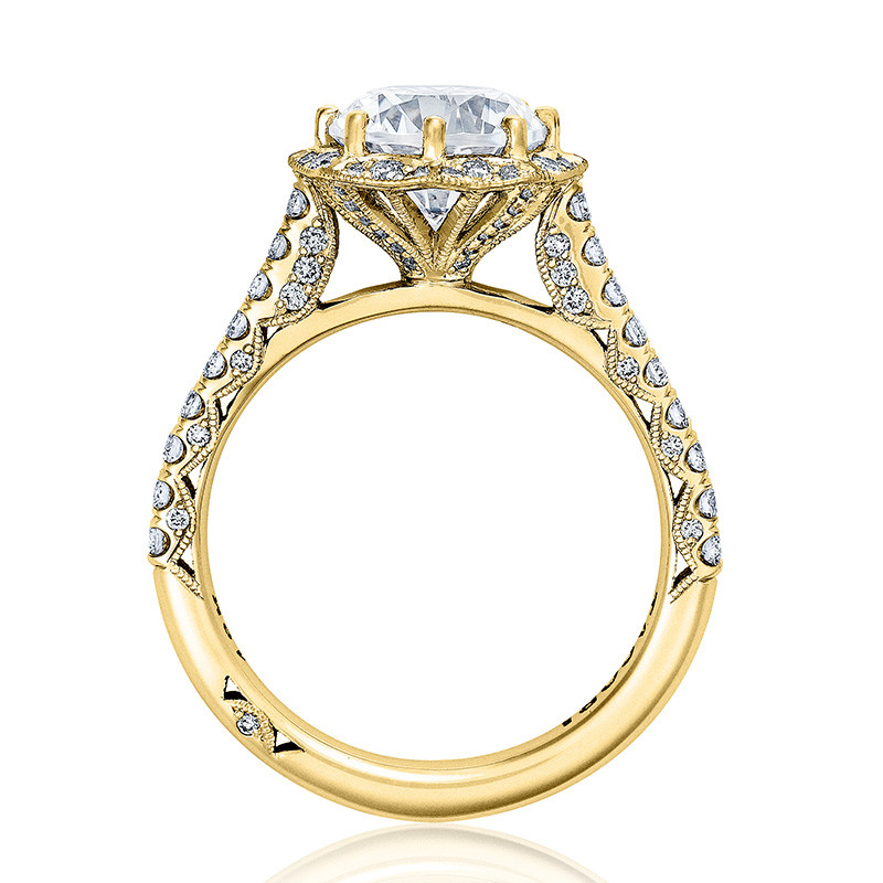 Tacori HT2555RD7 Bloom Yellow Gold Engagement Petite Crescent Setting Edge View