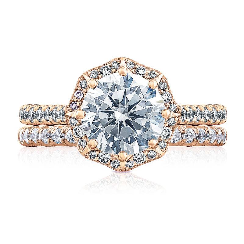 Tacori HT2555RD8 Bloom Rose Gold Engagement Petite Crescent Setting with Band