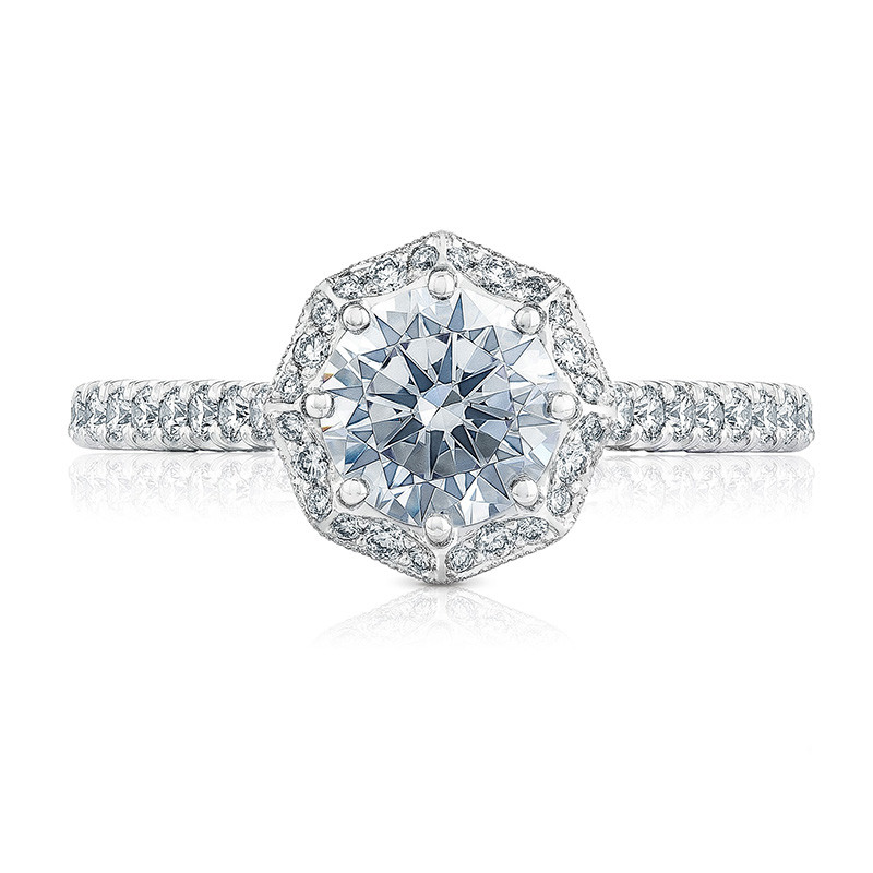 Tacori HT2555RD6 Bloom White Gold Engagement Petite Crescent Setting Top View
