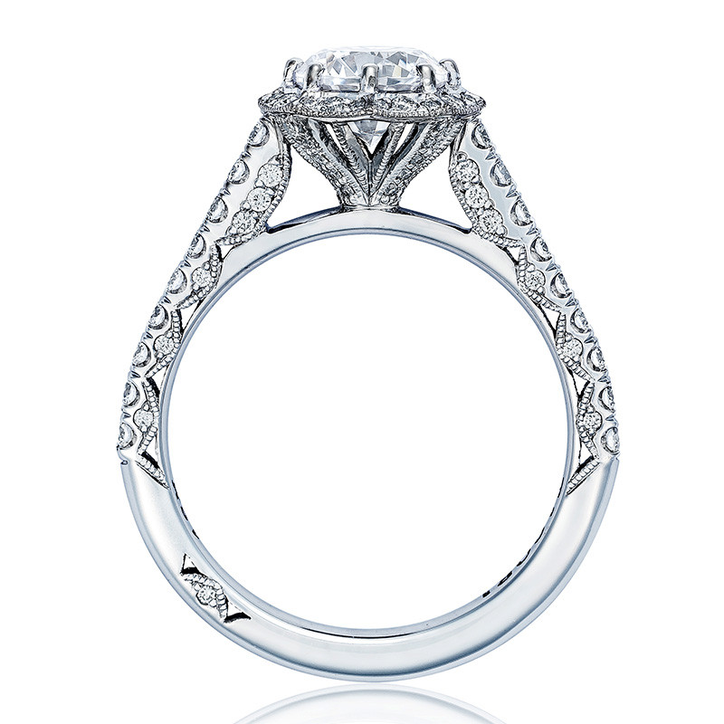 Tacori HT2555RD8 Bloom White Gold Engagement Petite Crescent Setting Edge View