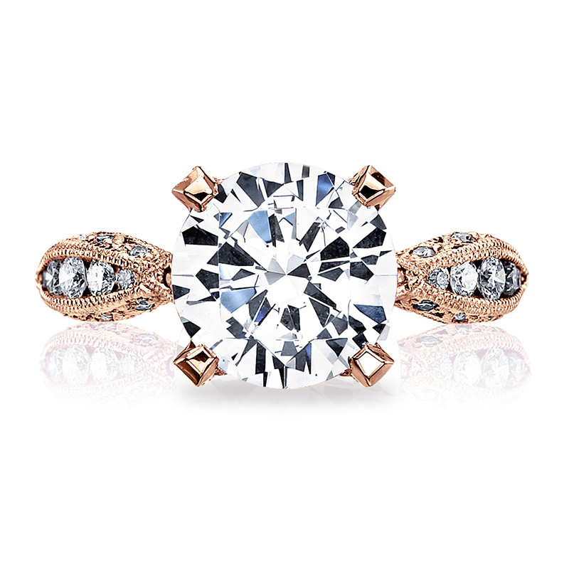 Tacori HT2602RD85 Diamond Ribbon Rose Gold Engagement RoyalT Setting Top View