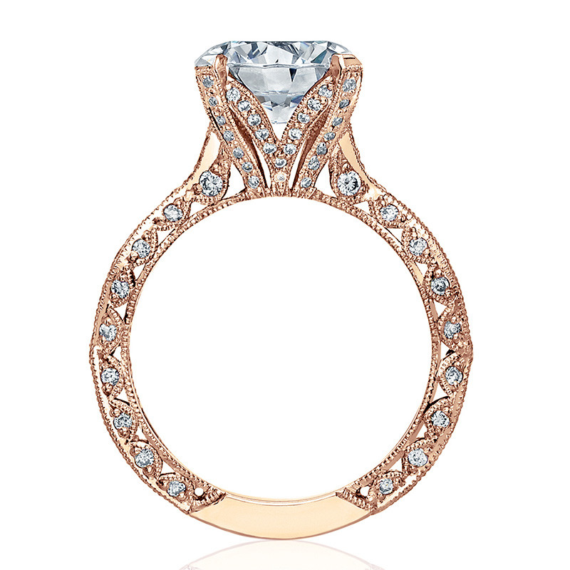 Tacori HT2602RD85 Diamond Ribbon Rose Gold Engagement RoyalT Setting Edge View