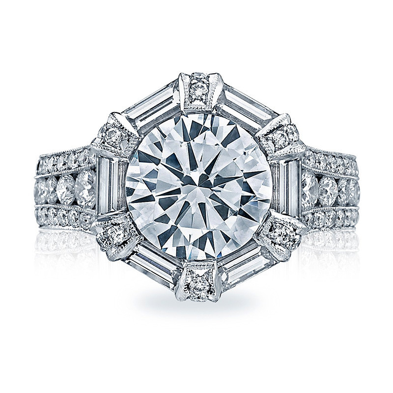 Tacori HT2603RD Baguette Bloom Channel Set Engagement Ring RoyalT Setting Top View