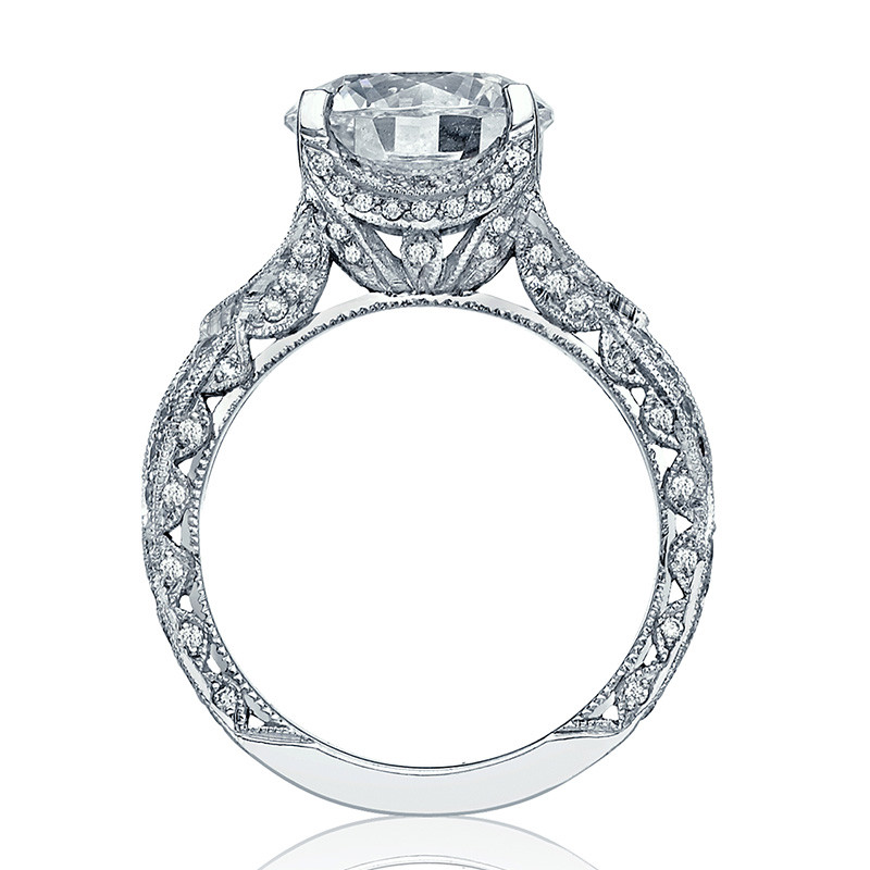 Tacori HT2606RD10 Diamond Ribbon Platinum RoyalT Engagement Setting Edge View