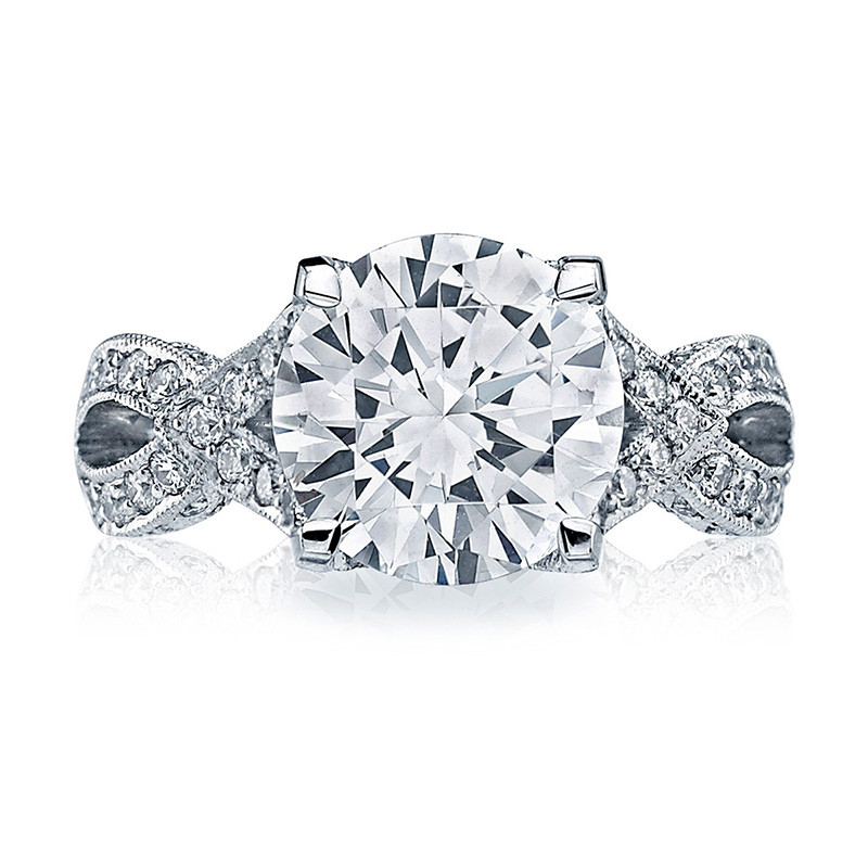 Tacori HT2606RD10 Diamond Ribbon Platinum RoyalT Engagement Setting Top View