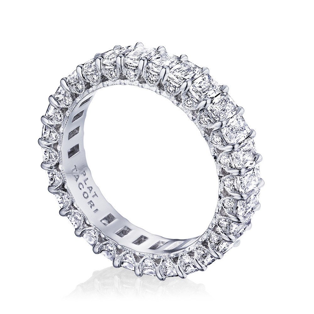 Tacori RoyalT Wide Triple Cut Diamond Eternity Wedding Band Angle View