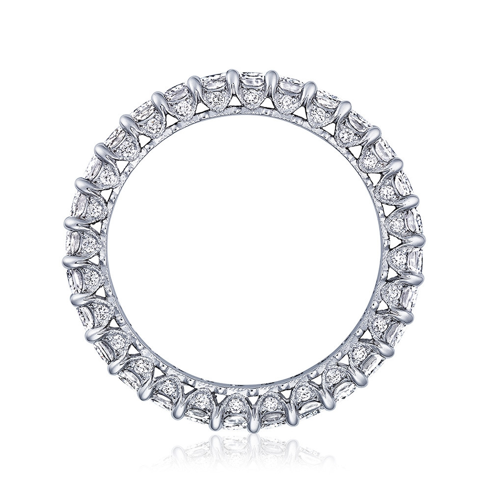 Tacori RoyalT Wide Triple Cut Diamond Eternity Wedding Band Side View