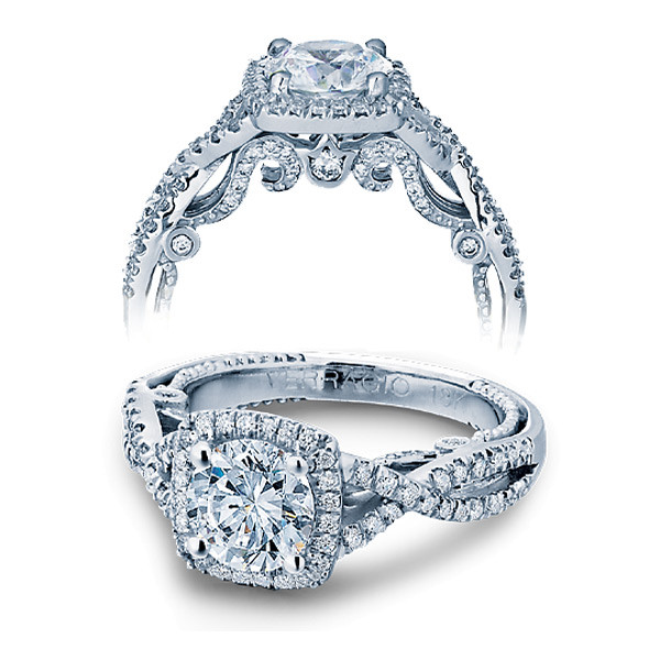 Verragio Insignia Cushion Halo Twist Engagement Ring Setting