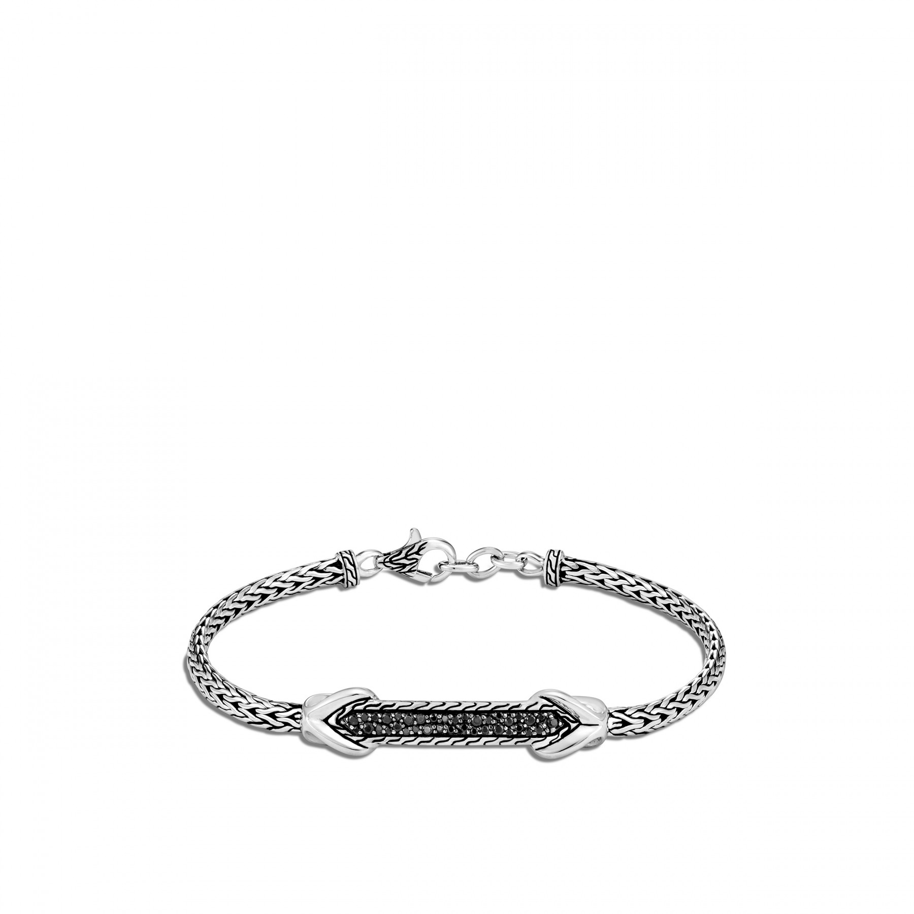 John Hardy Asli Classic Chain Silver and Black Bracelet –3.5mm front view