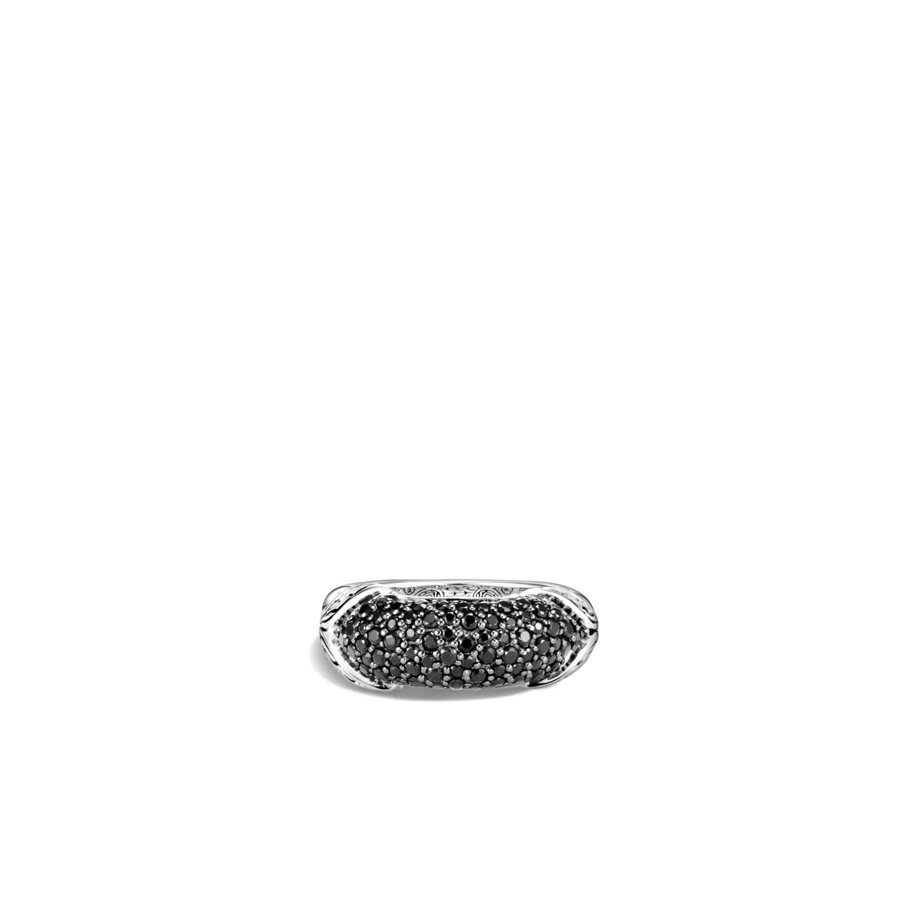 John Hardy Asli Classic Chain Silver and Black Gemstone Ring top view