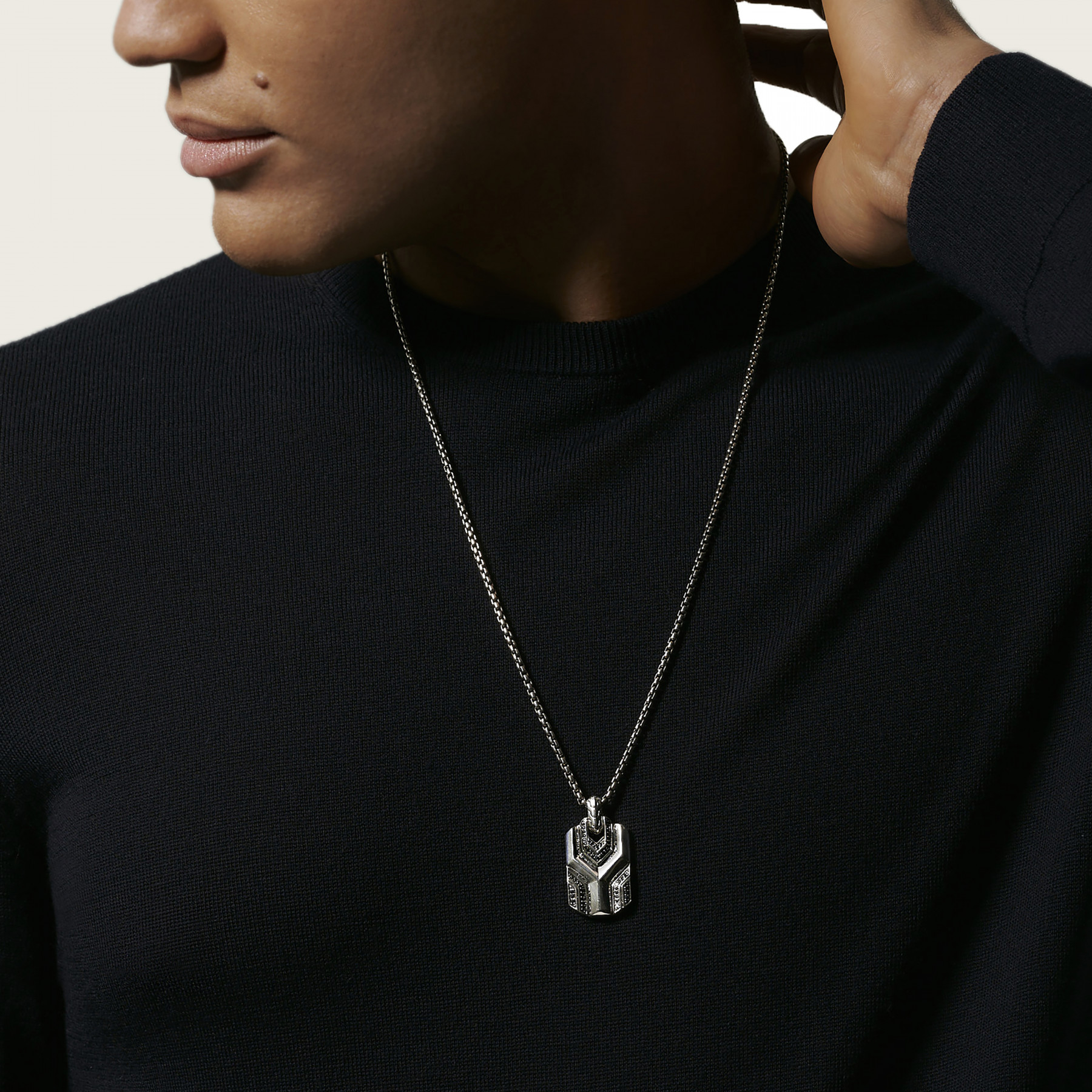 John Hardy Asli Classic Chain Silver and Black Necklace on model