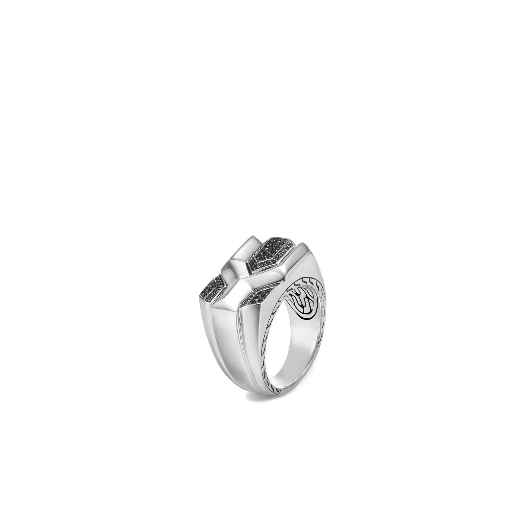 John Hardy Asli Classic Chain Silver and Black Ring front view