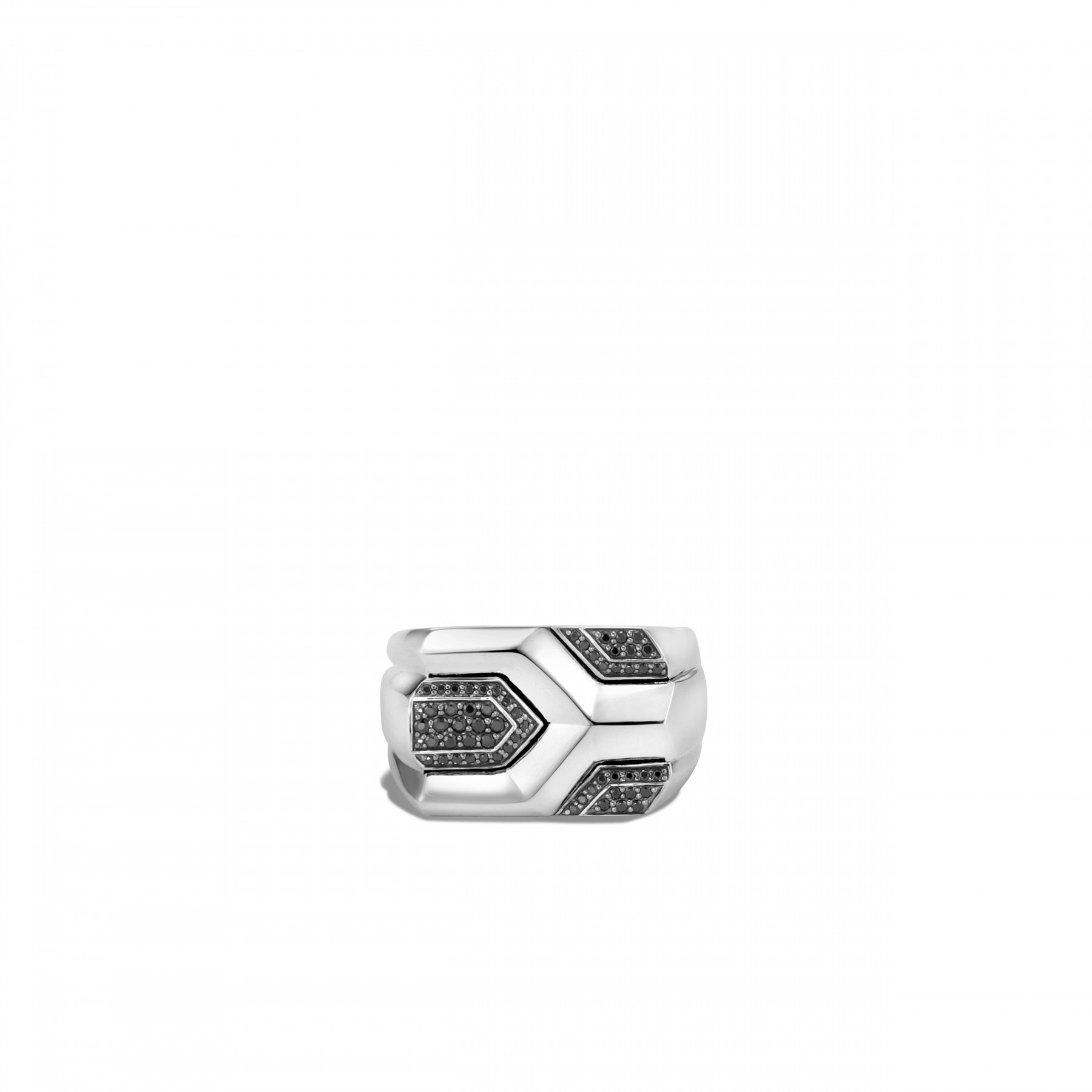 John Hardy Asli Classic Chain Silver and Black Ring top view
