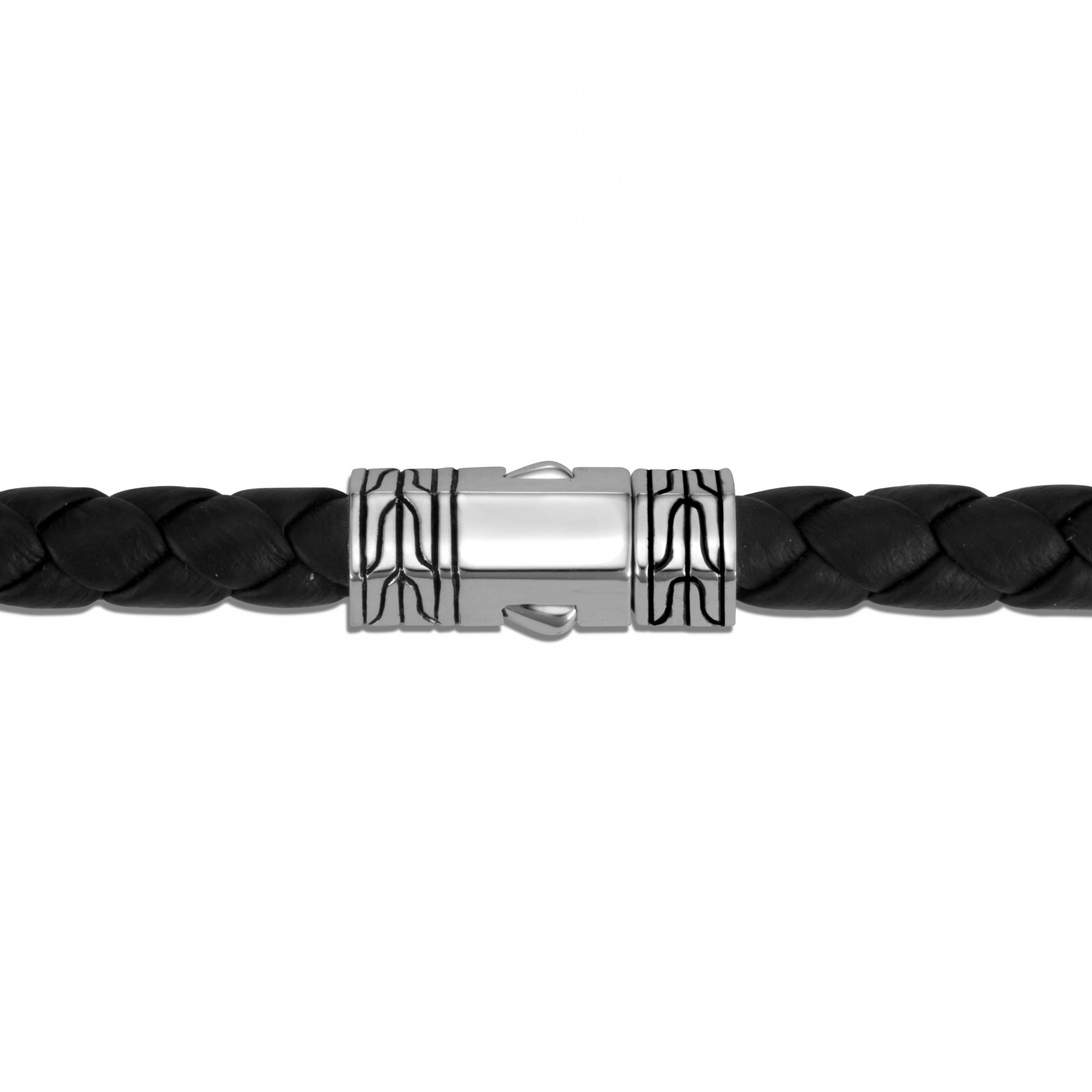 John Hardy Classic Chain Black and Silver Station Bracelet clasp view