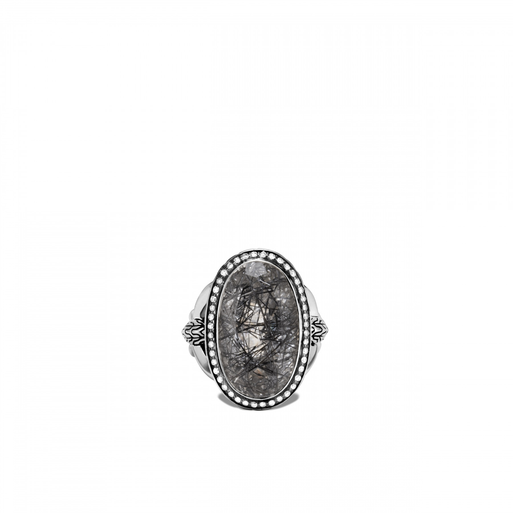 John Hardy Classic Chain Black Quartz and Diamond Ring top view