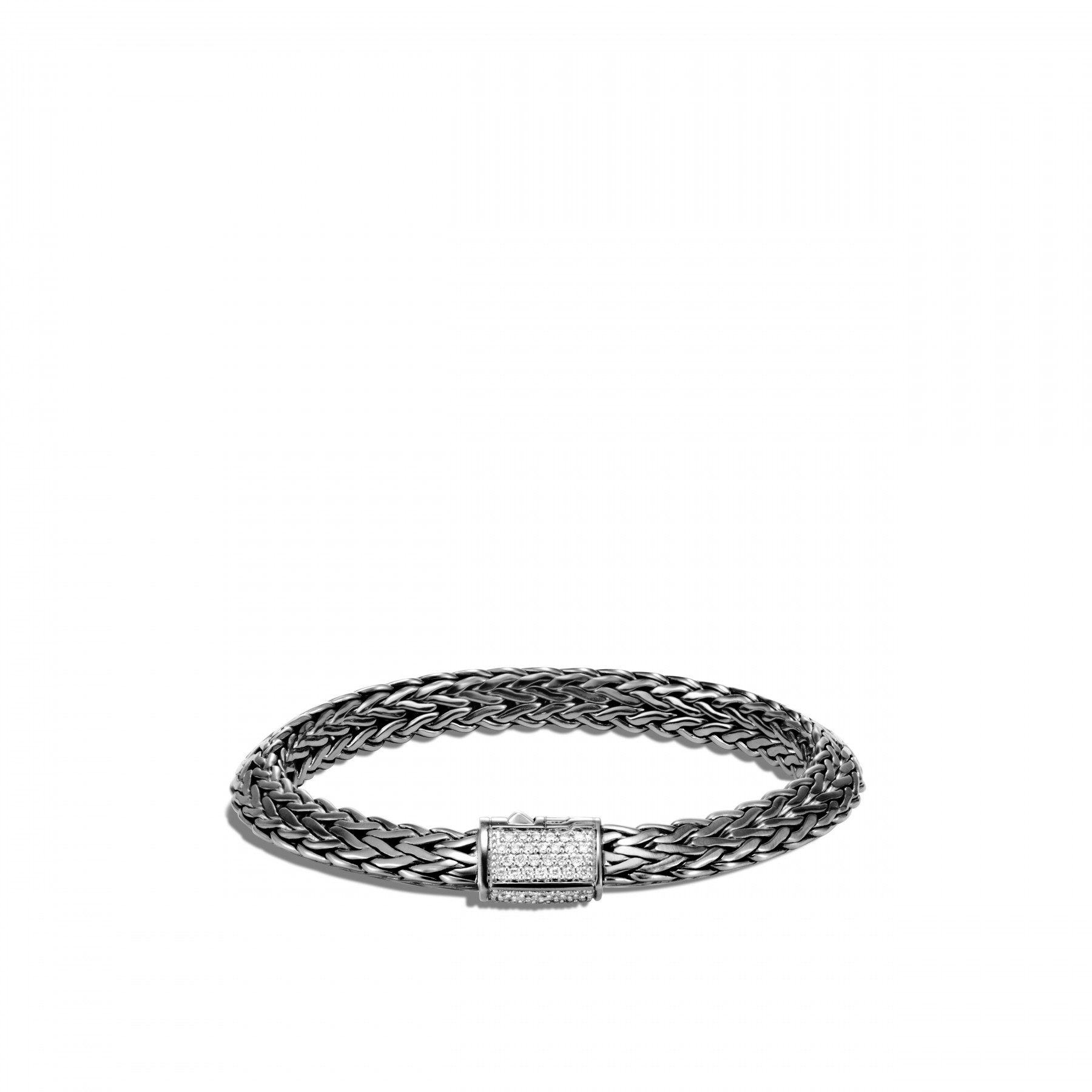 John Hardy Classic Chain Diamond and Black Rhodium Bracelet - 8mm front view