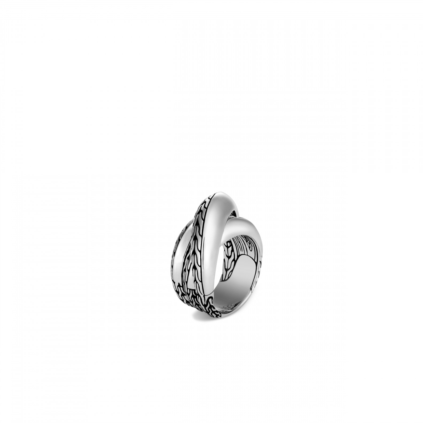 John Hardy Classic Chain Double Band Crossover Ring front view